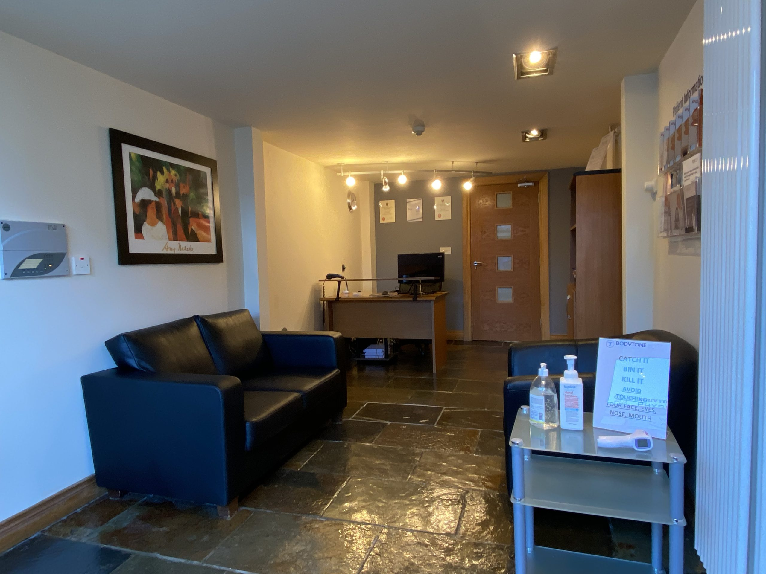 Bodytone physiotherapy reception area close up